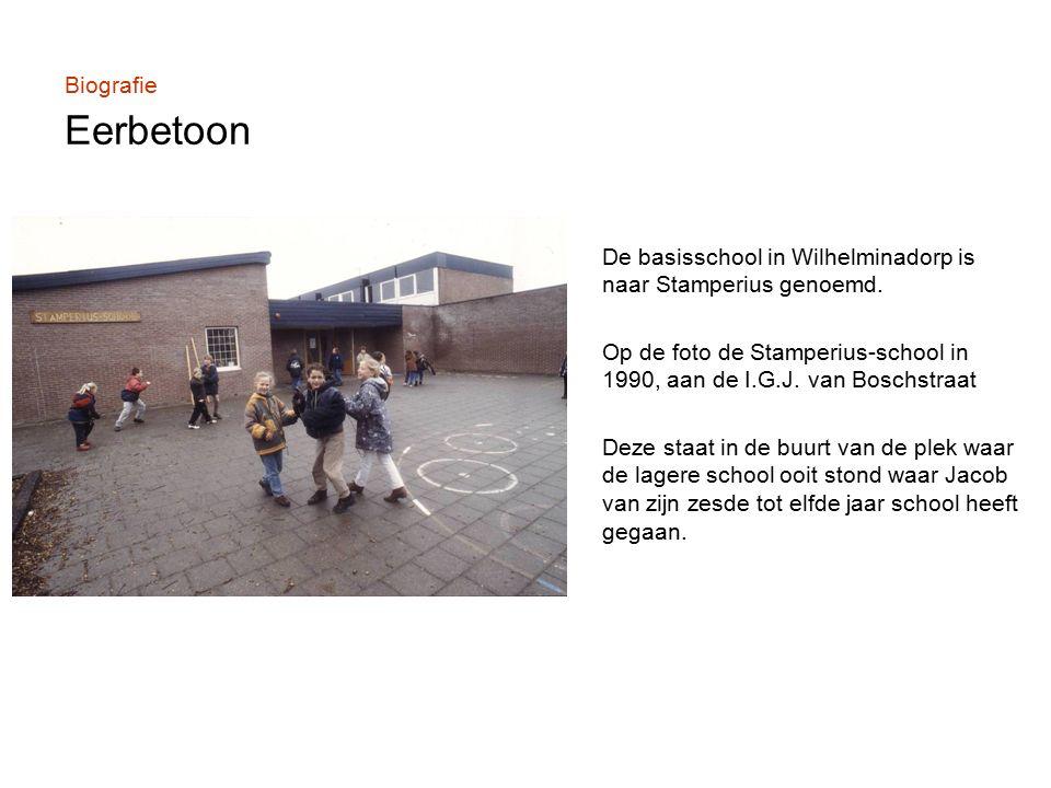 Biografie Eerbetoon De basisschool in Wilhelminadorp is naar Stamperius genoemd.