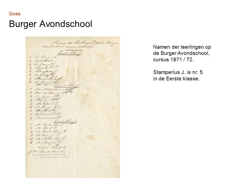Goes Burger Avondschool Namen der leerlingen op de Burger Avondschool, cursus 1871 / 72.