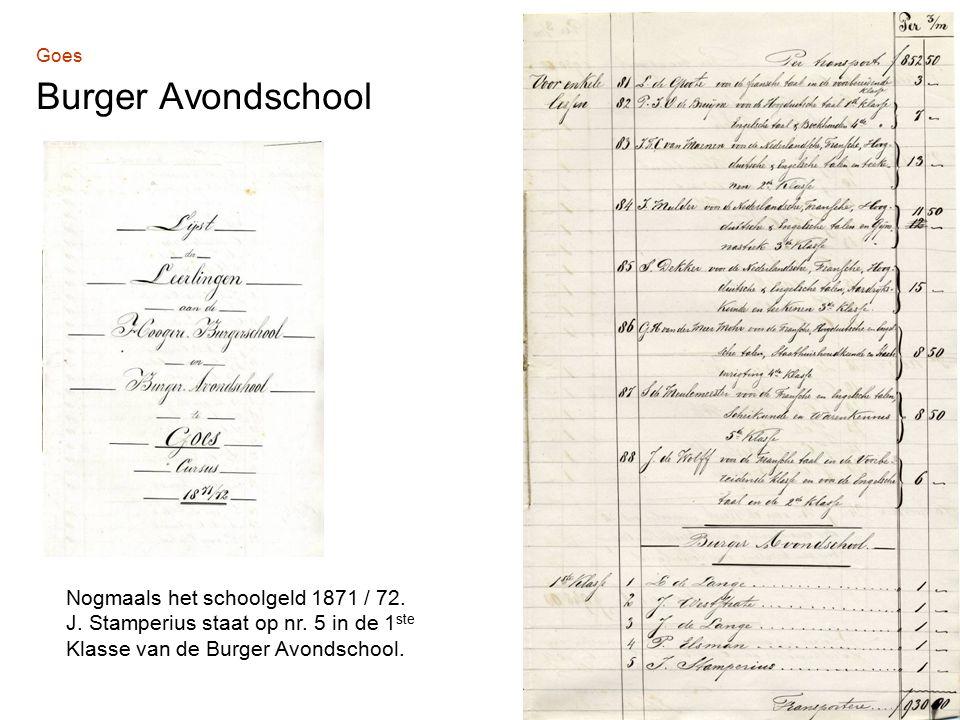 Goes Burger Avondschool Nogmaals het schoolgeld 1871 / 72.