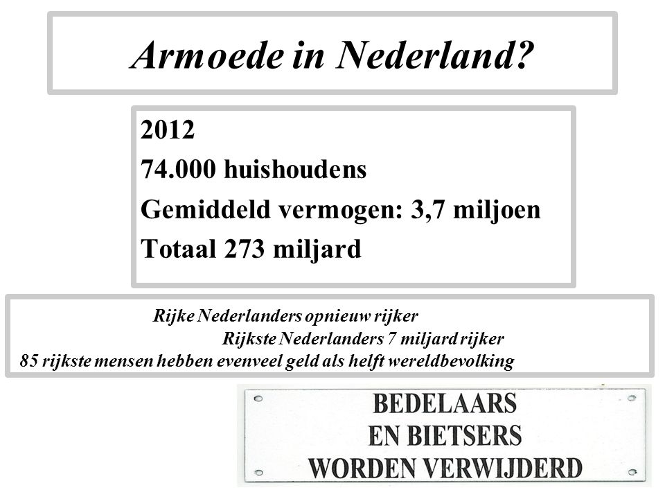 Armoede in Nederland.