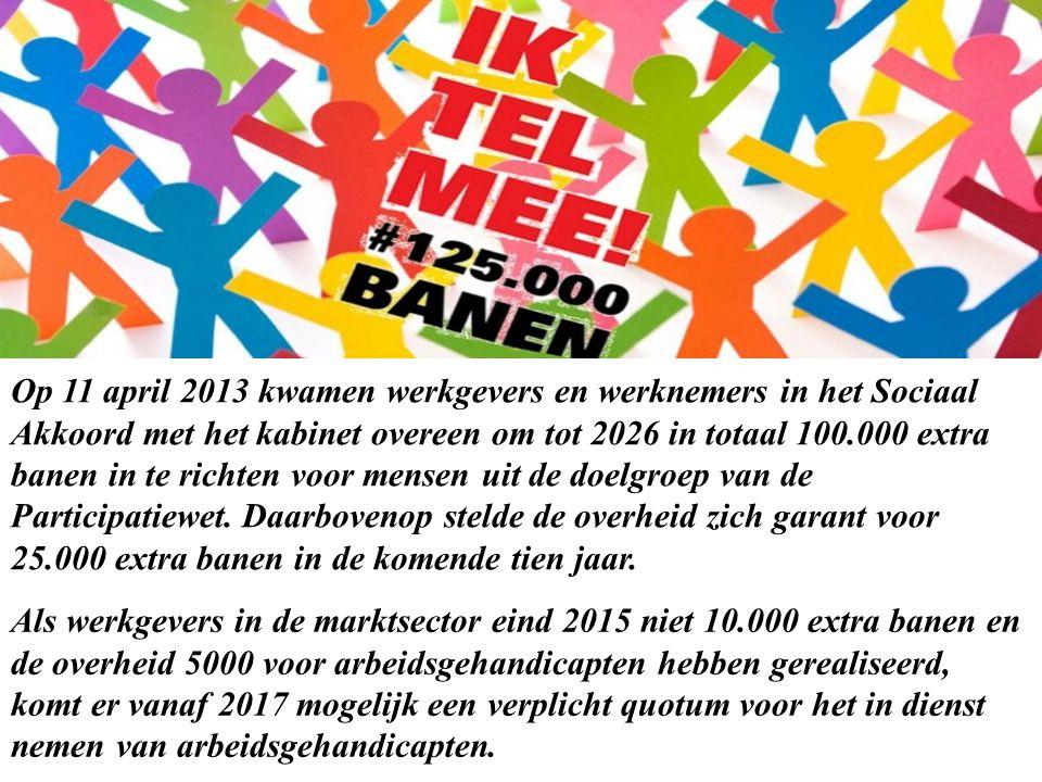 Op 11 april 2013 kwamen werkgevers en werknemers in het Sociaal Akkoord met het kabinet overeen om tot 2026 in totaal 100.000 extra banen in te richten voor mensen uit de doelgroep van de Participatiewet.