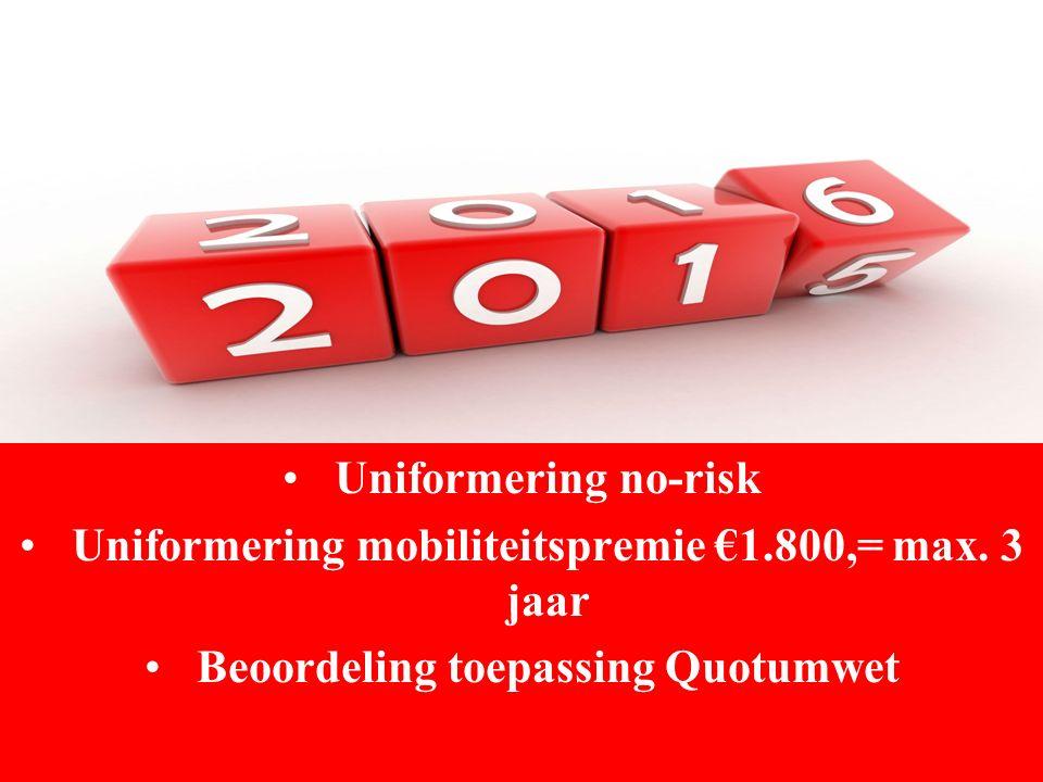 Uniformering no-risk Uniformering mobiliteitspremie €1.800,= max. 3 jaar Beoordeling toepassing Quotumwet