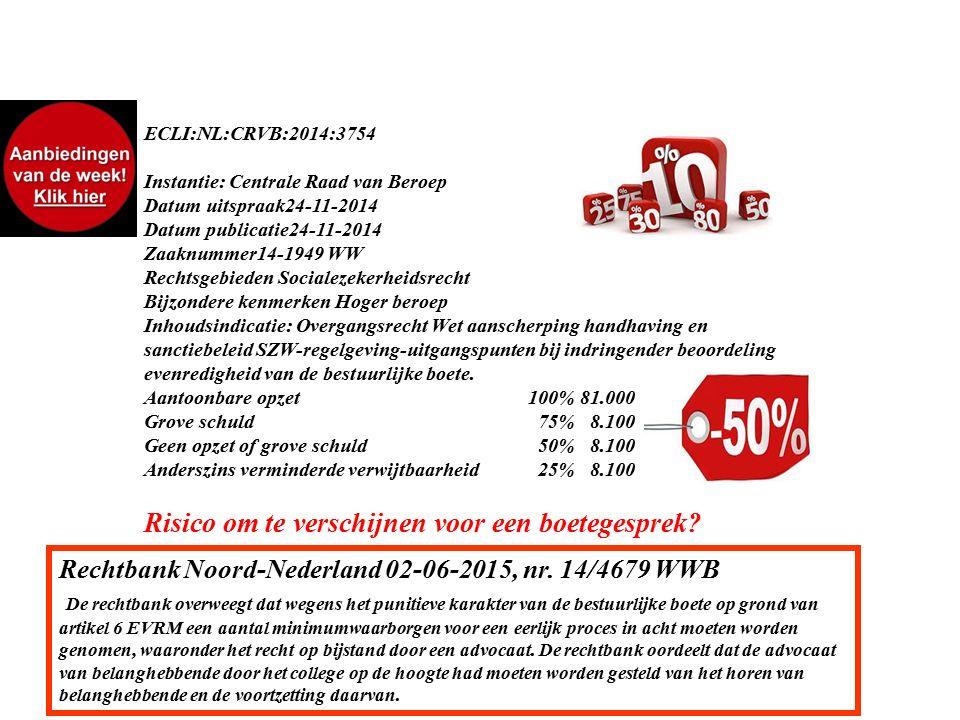 ECLI:NL:CRVB:2014:3754 Instantie: Centrale Raad van Beroep Datum uitspraak24-11-2014 Datum publicatie24-11-2014 Zaaknummer14-1949 WW Rechtsgebieden Socialezekerheidsrecht Bijzondere kenmerken Hoger beroep Inhoudsindicatie: Overgangsrecht Wet aanscherping handhaving en sanctiebeleid SZW-regelgeving-uitgangspunten bij indringender beoordeling evenredigheid van de bestuurlijke boete.
