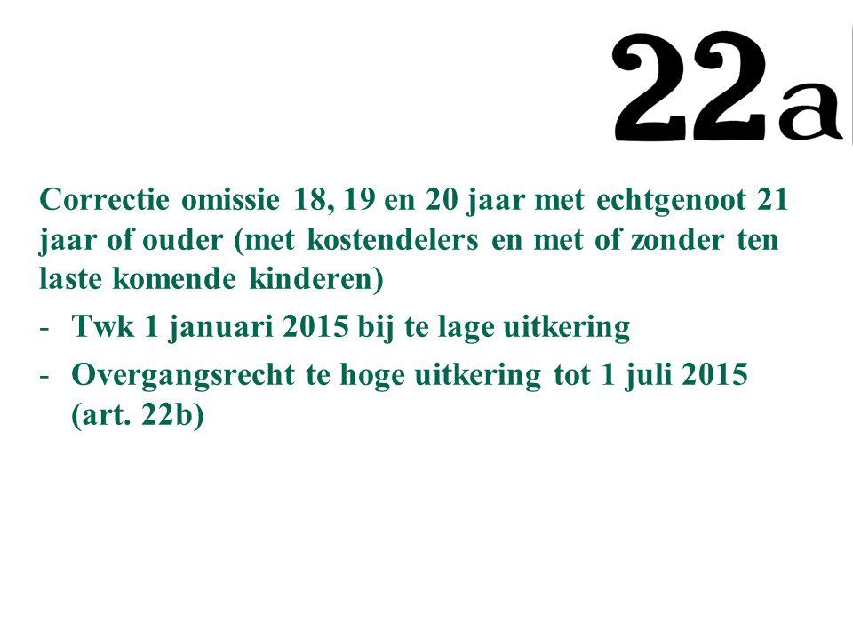 Correctie omissie 18, 19 en 20 jaar met echtgenoot 21 jaar of ouder (met kostendelers en met of zonder ten laste komende kinderen) -Twk 1 januari 2015 bij te lage uitkering -Overgangsrecht te hoge uitkering tot 1 juli 2015 (art.