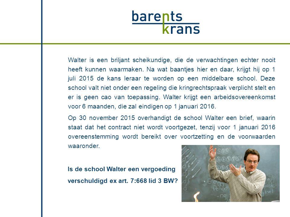 Walter en de school bereiken overeenstemming over verlenging van de arbeidsovereenkomst.