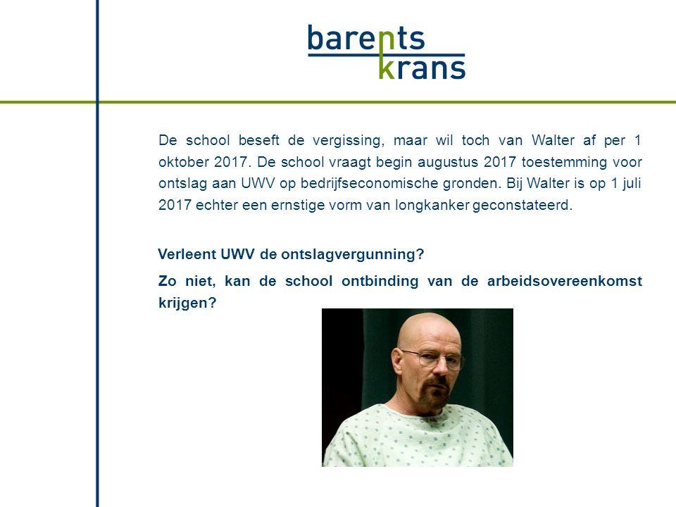De school beseft de vergissing, maar wil toch van Walter af per 1 oktober 2017. De school vraagt begin augustus 2017 toestemming voor ontslag aan UWV