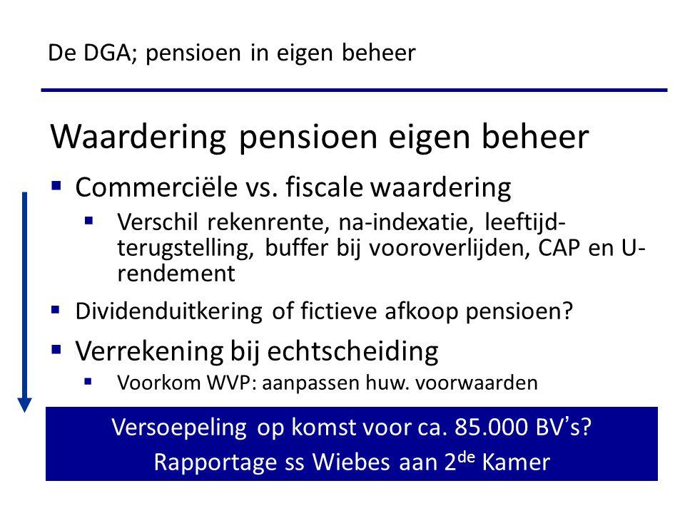 Waardering pensioen eigen beheer  Commerciële vs. fiscale waardering  Verschil rekenrente, na-indexatie, leeftijd- terugstelling, buffer bij voorove