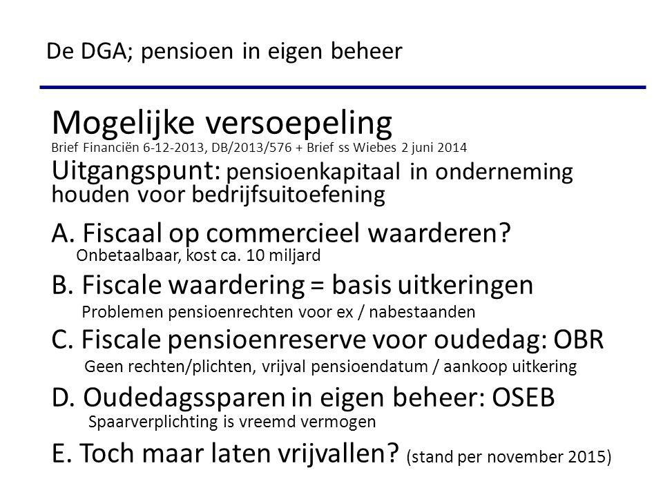 Mogelijke versoepeling Brief Financiën 6-12-2013, DB/2013/576 + Brief ss Wiebes 2 juni 2014 Uitgangspunt: pensioenkapitaal in onderneming houden voor bedrijfsuitoefening A.