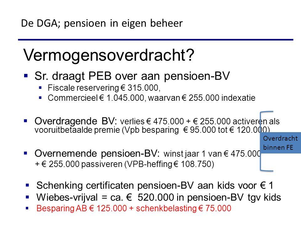 Vermogensoverdracht?  Sr. draagt PEB over aan pensioen-BV  Fiscale reservering € 315.000,  Commercieel € 1.045.000, waarvan € 255.000 indexatie  O