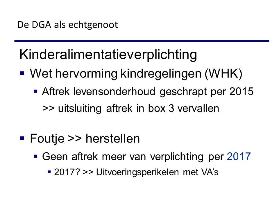 Kinderalimentatieverplichting  Wet hervorming kindregelingen (WHK)  Aftrek levensonderhoud geschrapt per 2015 >> uitsluiting aftrek in box 3 vervall