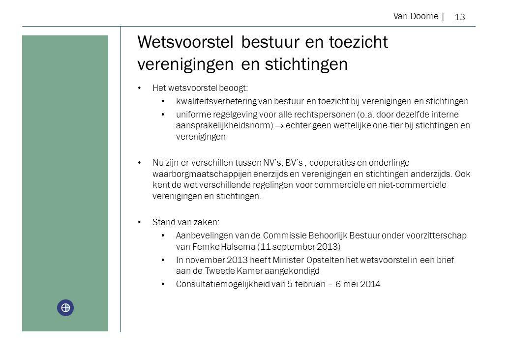 Van Doorne | Wetsvoorstel bestuur en toezicht verenigingen en stichtingen 13 Het wetsvoorstel beoogt: kwaliteitsverbetering van bestuur en toezicht bij verenigingen en stichtingen uniforme regelgeving voor alle rechtspersonen (o.a.