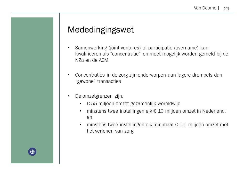 Van Doorne | Mededingingswet 24 Samenwerking (joint ventures) of participatie (overname) kan kwalificeren als concentratie en moet mogelijk worden gemeld bij de NZa en de ACM Concentraties in de zorg zijn onderworpen aan lagere drempels dan gewone transacties De omzetgrenzen zijn: € 55 miljoen omzet gezamenlijk wereldwijd minstens twee instellingen elk € 10 miljoen omzet in Nederland; en minstens twee instellingen elk minimaal € 5,5 miljoen omzet met het verlenen van zorg