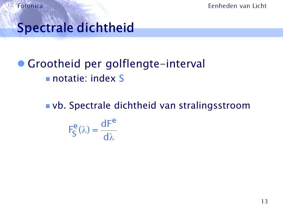 Eenheden van Licht Fotonica 13 Spectrale dichtheid Grootheid per golflengte-interval notatie: index S vb. Spectrale dichtheid van stralingsstroom