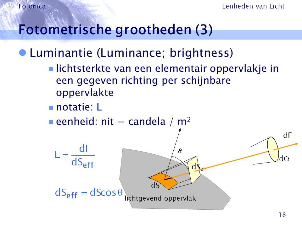 Eenheden van Licht Fotonica 18 Fotometrische grootheden (3) Luminantie (Luminance; brightness) lichtsterkte van een elementair oppervlakje in een gege