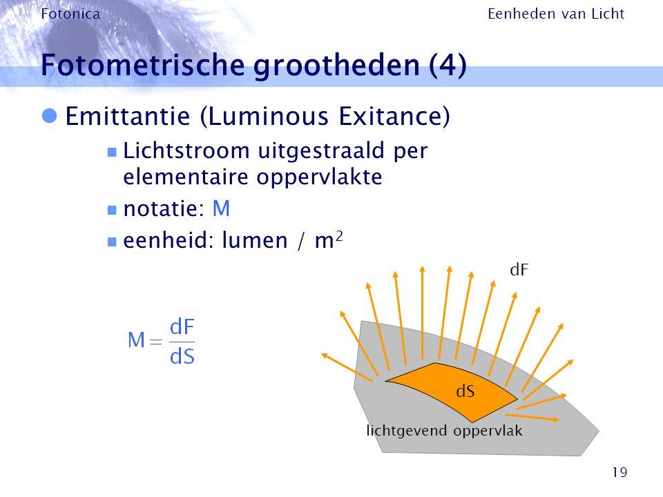 Eenheden van Licht Fotonica 19 Fotometrische grootheden (4) Emittantie (Luminous Exitance) Lichtstroom uitgestraald per elementaire oppervlakte notati