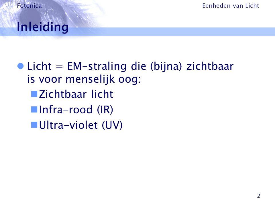 Eenheden van Licht Fotonica 2 Inleiding Licht = EM-straling die (bijna) zichtbaar is voor menselijk oog: Zichtbaar licht Infra-rood (IR) Ultra-violet