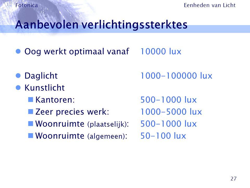 Eenheden van Licht Fotonica 27 Aanbevolen verlichtingssterktes Oog werkt optimaal vanaf 10000 lux Daglicht1000-100000 lux Kunstlicht Kantoren:500-1000