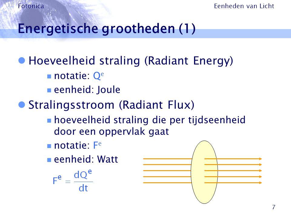 Eenheden van Licht Fotonica 7 Energetische grootheden (1) Hoeveelheid straling (Radiant Energy) notatie: Q e eenheid: Joule Stralingsstroom (Radiant F