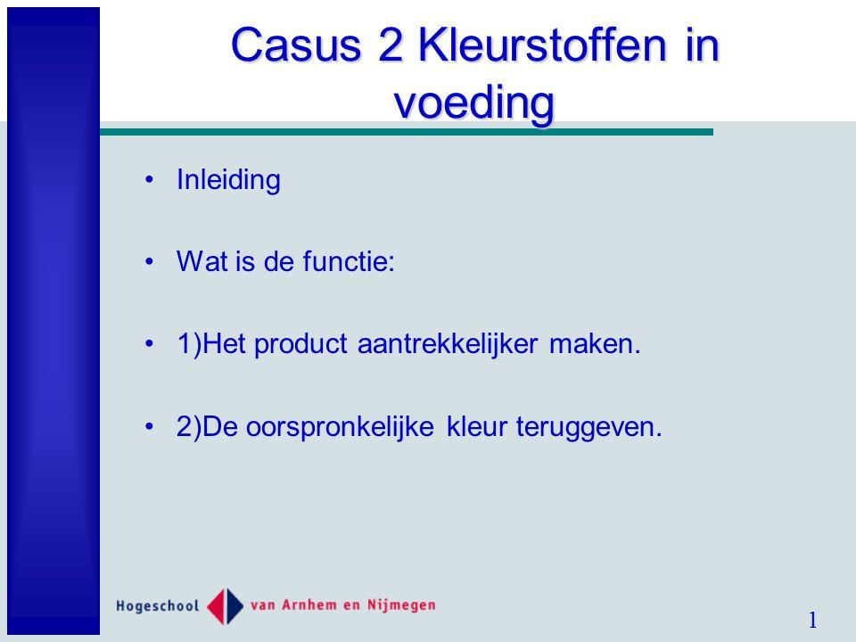 1 Casus 2 Kleurstoffen in voeding Inleiding Wat is de functie: 1)Het product aantrekkelijker maken.