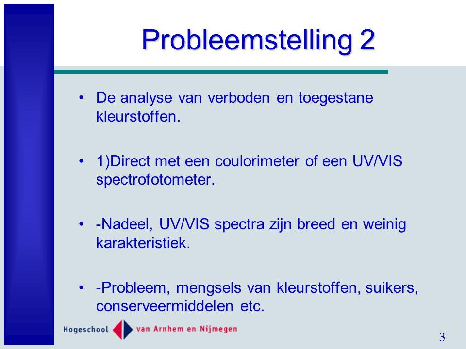 3 Probleemstelling 2 De analyse van verboden en toegestane kleurstoffen.