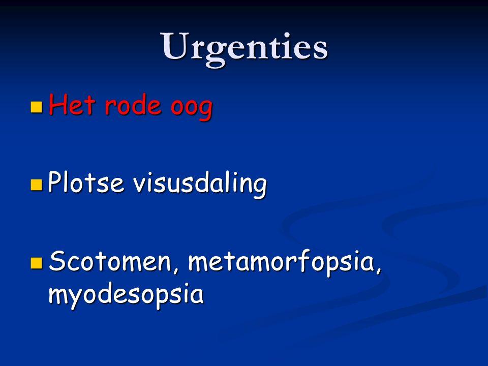 2.Sclera 1.Episcleritis Sectoriële roodheid met gezwollen en kronkelige episclerale vaten Milde pijn Normale visus Meestal idiopatisch, zeldzaam collageenaandoeningen, jicht R/ Kunsttranen Topisch NSAID (max.