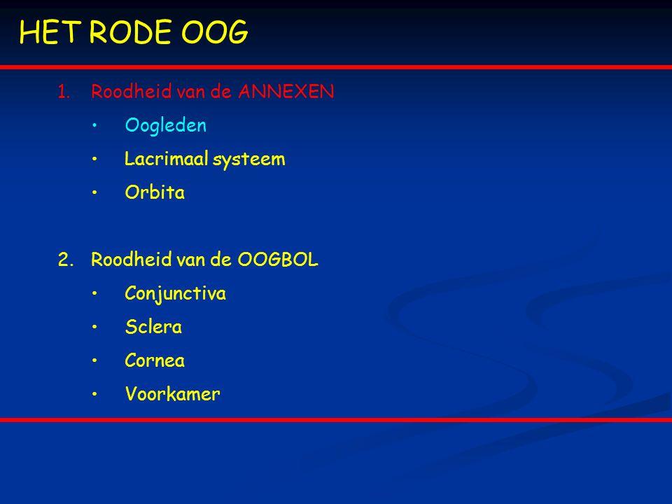 3.Orbita 2.Orbitale cellulitis = visusbedreigende en zelfs bevensbedreigende inflammatie van de inhoud van de orbita Ethiologie: vaak paranasale sinusitis