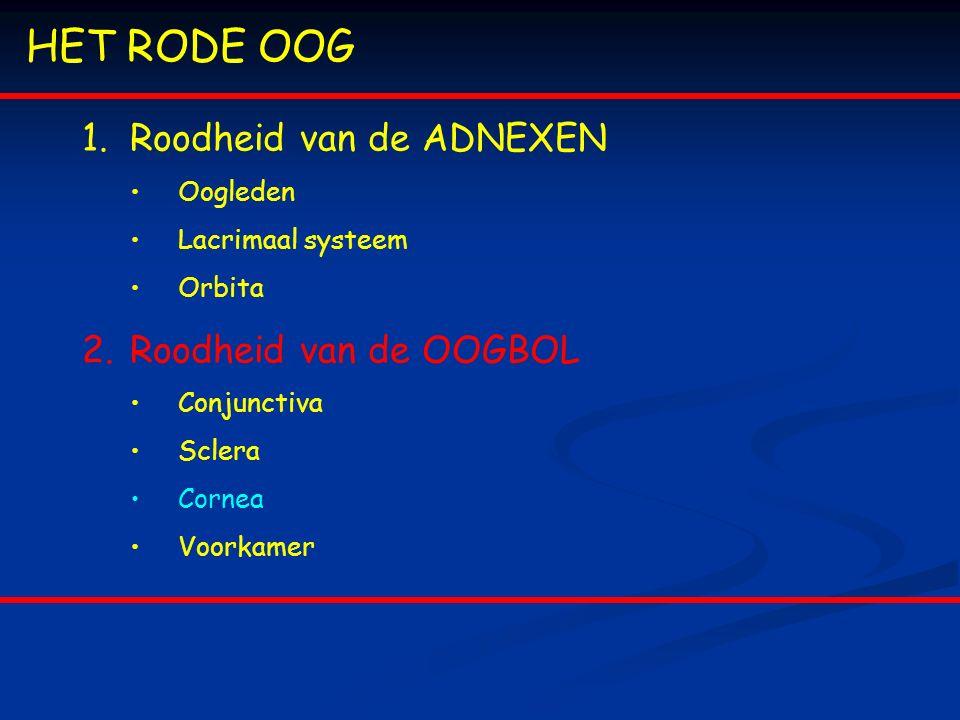 HET RODE OOG 1.Roodheid van de ADNEXEN Oogleden Lacrimaal systeem Orbita 2.Roodheid van de OOGBOL Conjunctiva Sclera Cornea Voorkamer
