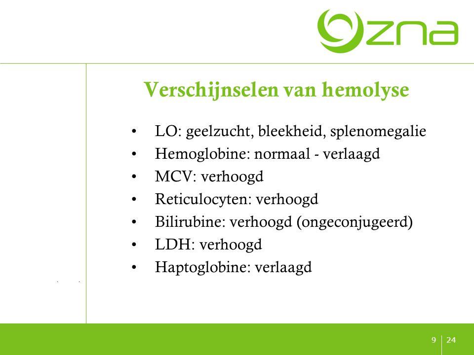 titel ondertitel datum 249 Verschijnselen van hemolyse LO: geelzucht, bleekheid, splenomegalie Hemoglobine: normaal - verlaagd MCV: verhoogd Reticuloc