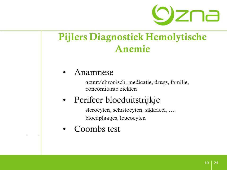 titel ondertitel datum 2410 Pijlers Diagnostiek Hemolytische Anemie Anamnese acuut/chronisch, medicatie, drugs, familie, concomitante ziekten Perifeer