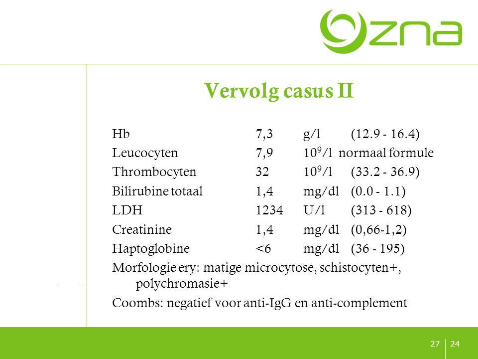titel ondertitel datum 2428 Vervolg casus II Haptoglobine<20mg/dl(30 - 200) Coombs: negatief voor anti-IgG en anti-complement Bloeduitstrijkje: schistocyten 50/1000 RBC