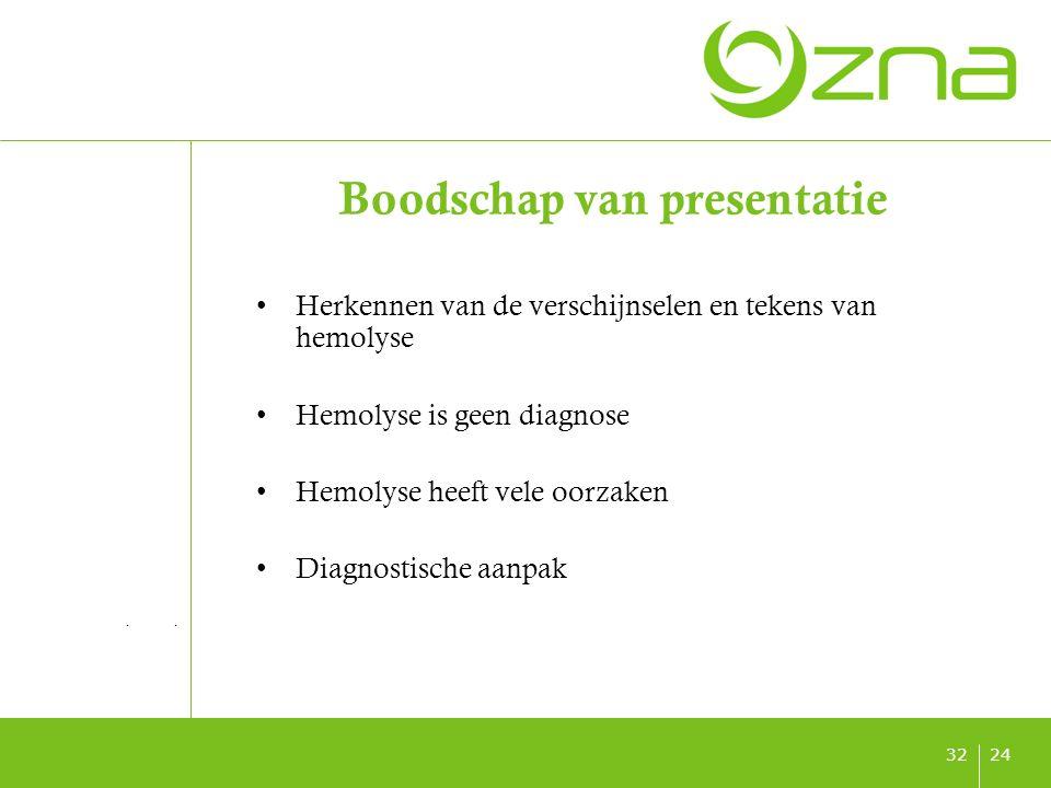 titel ondertitel datum 2432 Boodschap van presentatie Herkennen van de verschijnselen en tekens van hemolyse Hemolyse is geen diagnose Hemolyse heeft vele oorzaken Diagnostische aanpak