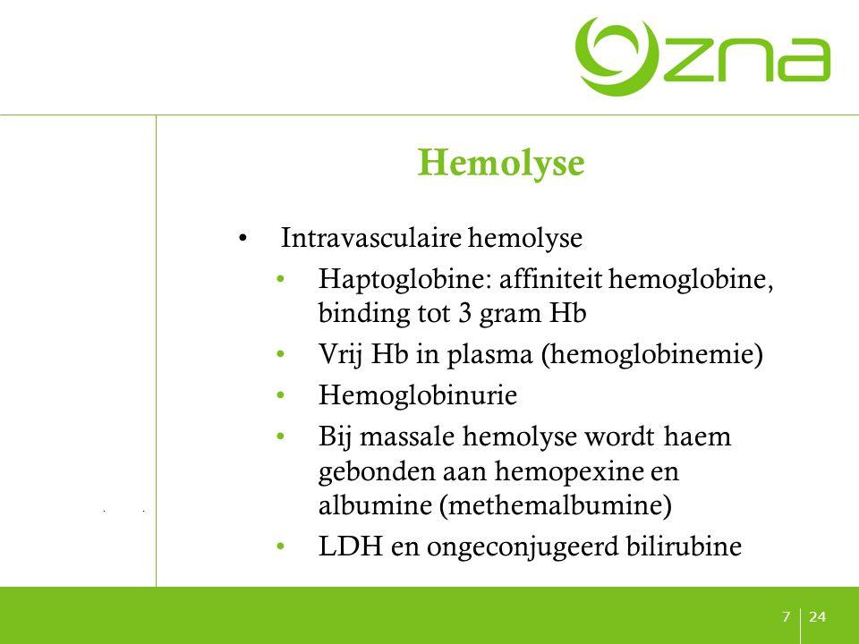 titel ondertitel datum 247 Hemolyse Intravasculaire hemolyse Haptoglobine: affiniteit hemoglobine, binding tot 3 gram Hb Vrij Hb in plasma (hemoglobinemie) Hemoglobinurie Bij massale hemolyse wordt haem gebonden aan hemopexine en albumine (methemalbumine) LDH en ongeconjugeerd bilirubine