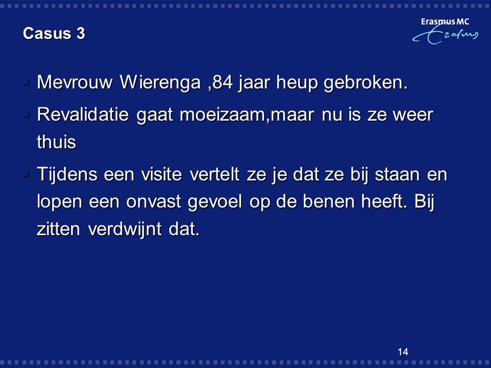 14 Casus 3  Mevrouw Wierenga,84 jaar heup gebroken.