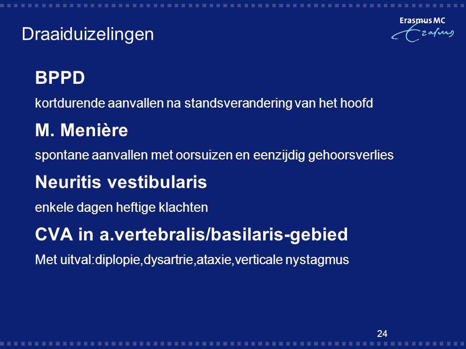 24 Draaiduizelingen  BPPD  kortdurende aanvallen na standsverandering van het hoofd  M. Menière  spontane aanvallen met oorsuizen en eenzijdig geh