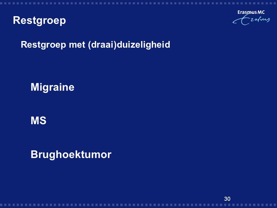 30 Restgroep  Restgroep met (draai)duizeligheid  Migraine  MS  Brughoektumor