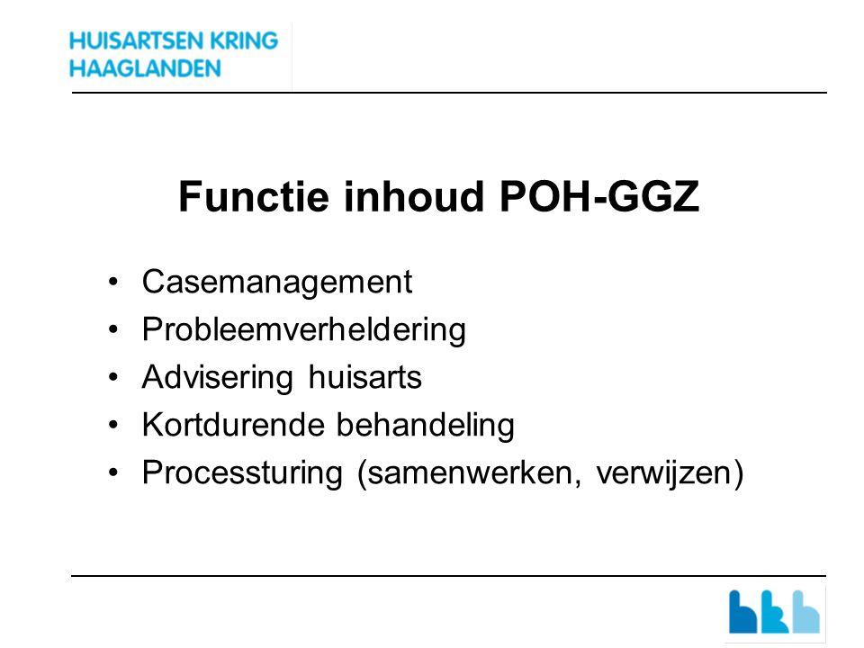Functie inhoud POH-GGZ Casemanagement Probleemverheldering Advisering huisarts Kortdurende behandeling Processturing (samenwerken, verwijzen)