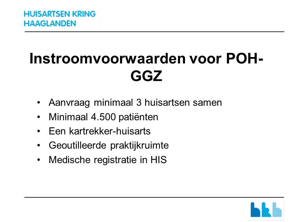 Instroomvoorwaarden voor POH- GGZ Aanvraag minimaal 3 huisartsen samen Minimaal 4.500 patiënten Een kartrekker-huisarts Geoutilleerde praktijkruimte Medische registratie in HIS