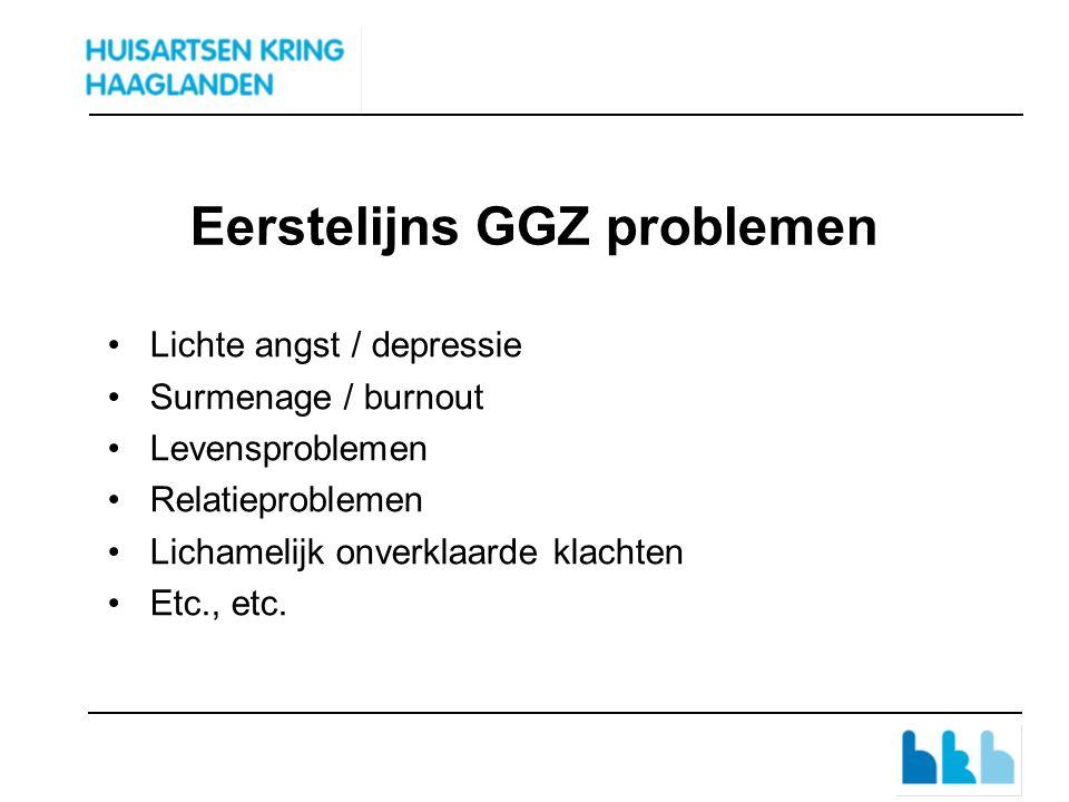 Eerstelijns GGZ problemen Lichte angst / depressie Surmenage / burnout Levensproblemen Relatieproblemen Lichamelijk onverklaarde klachten Etc., etc.