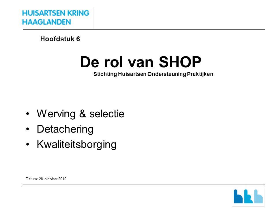 De rol van SHOP Stichting Huisartsen Ondersteuning Praktijken Werving & selectie Detachering Kwaliteitsborging Datum: 28 oktober 2010 Hoofdstuk 6