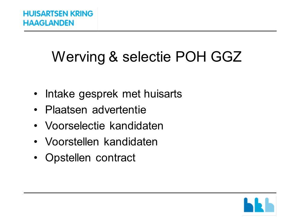 Werving & selectie POH GGZ Intake gesprek met huisarts Plaatsen advertentie Voorselectie kandidaten Voorstellen kandidaten Opstellen contract