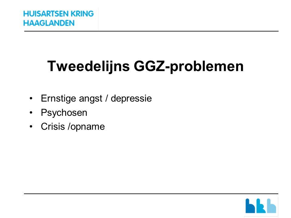 Tweedelijns GGZ-problemen Ernstige angst / depressie Psychosen Crisis /opname