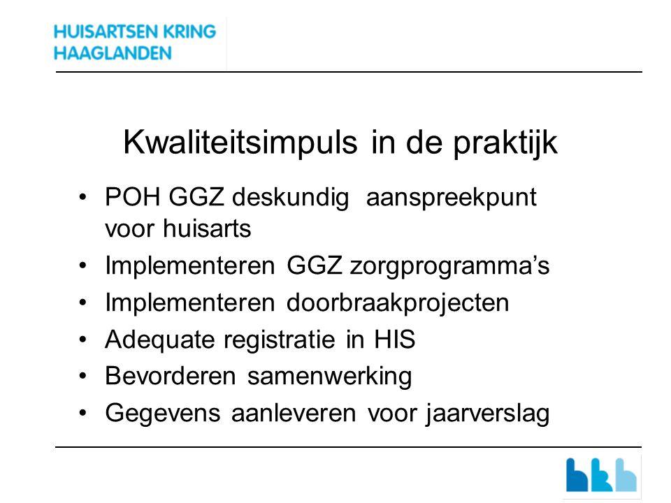 Kwaliteitsimpuls in de praktijk POH GGZ deskundig aanspreekpunt voor huisarts Implementeren GGZ zorgprogramma's Implementeren doorbraakprojecten Adequate registratie in HIS Bevorderen samenwerking Gegevens aanleveren voor jaarverslag
