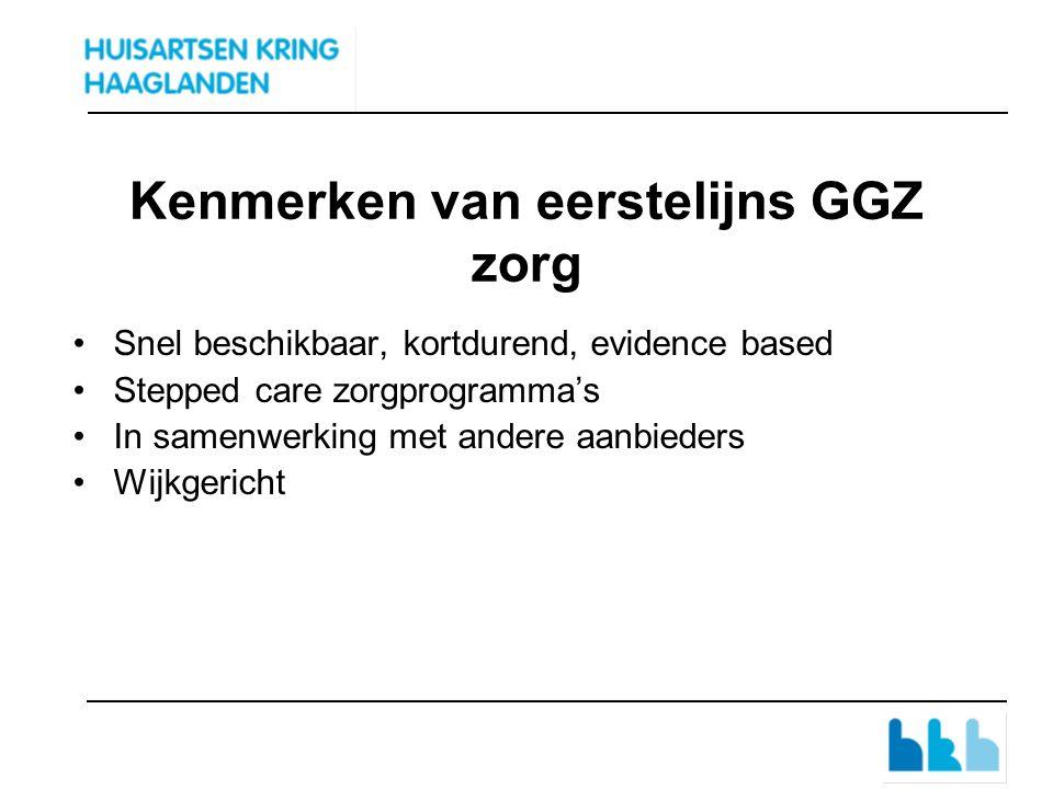 Kenmerken van eerstelijns GGZ zorg Snel beschikbaar, kortdurend, evidence based Stepped care zorgprogramma's In samenwerking met andere aanbieders Wijkgericht