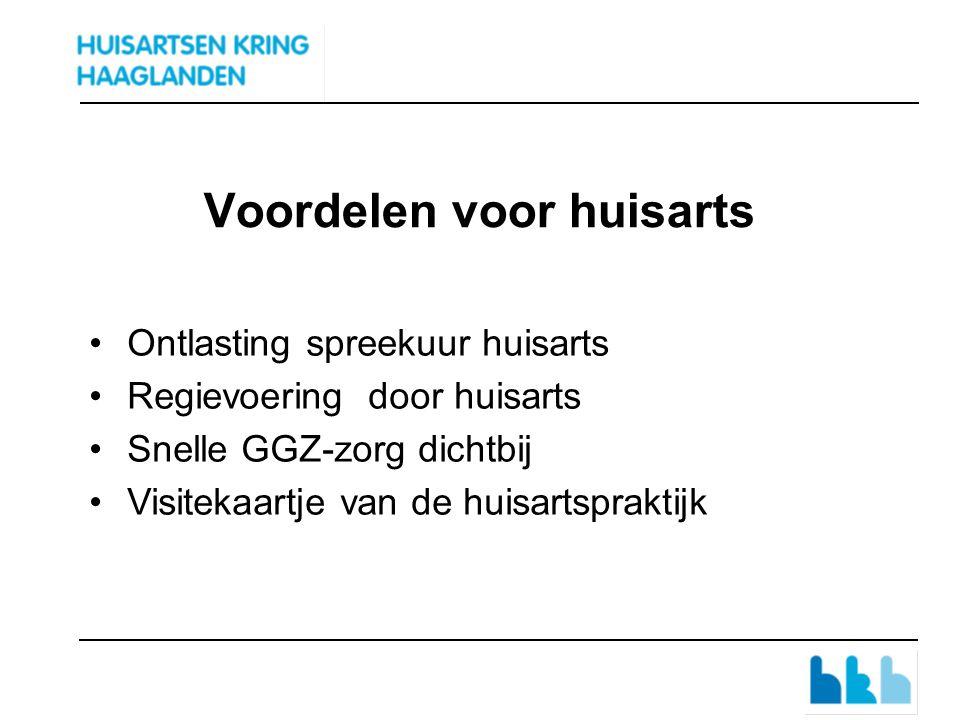 Voordelen voor huisarts Ontlasting spreekuur huisarts Regievoering door huisarts Snelle GGZ-zorg dichtbij Visitekaartje van de huisartspraktijk
