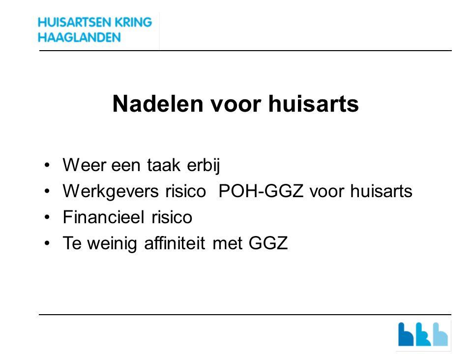 Nadelen voor huisarts Weer een taak erbij Werkgevers risico POH-GGZ voor huisarts Financieel risico Te weinig affiniteit met GGZ