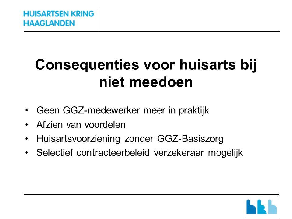 Consequenties voor huisarts bij niet meedoen Geen GGZ-medewerker meer in praktijk Afzien van voordelen Huisartsvoorziening zonder GGZ-Basiszorg Selectief contracteerbeleid verzekeraar mogelijk