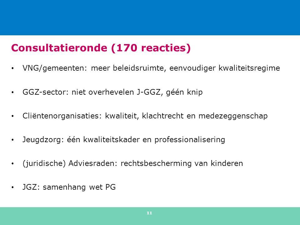 Consultatieronde (170 reacties) VNG/gemeenten: meer beleidsruimte, eenvoudiger kwaliteitsregime GGZ-sector: niet overhevelen J-GGZ, géén knip Cliëntenorganisaties: kwaliteit, klachtrecht en medezeggenschap Jeugdzorg: één kwaliteitskader en professionalisering (juridische) Adviesraden: rechtsbescherming van kinderen JGZ: samenhang wet PG 11