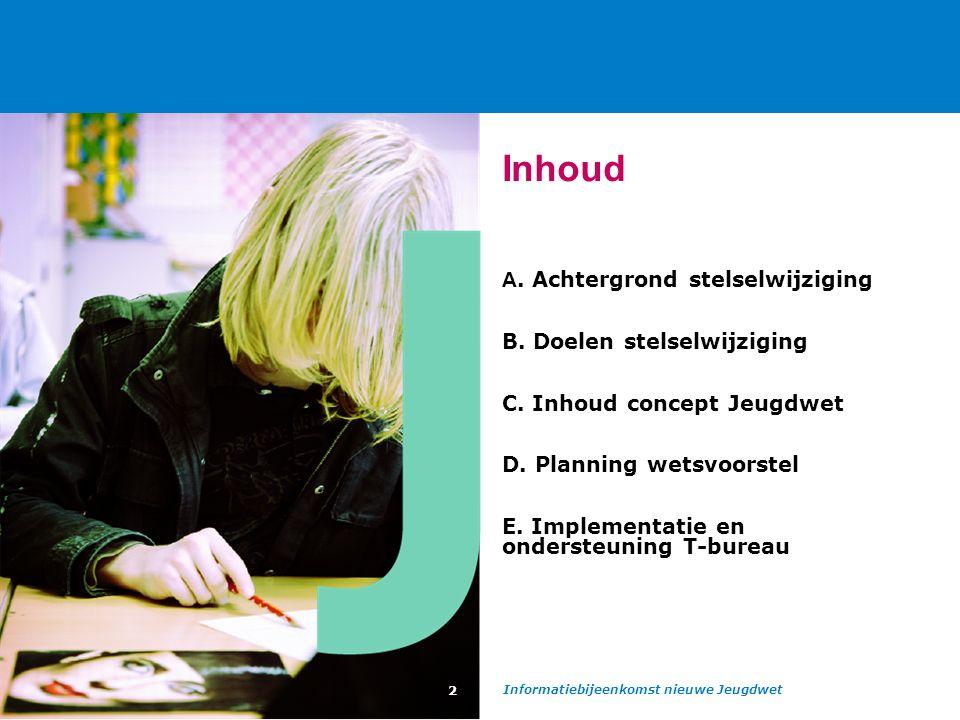 Informatiebijeenkomst nieuwe Jeugdwet 2 Inhoud A. Achtergrond stelselwijziging B.