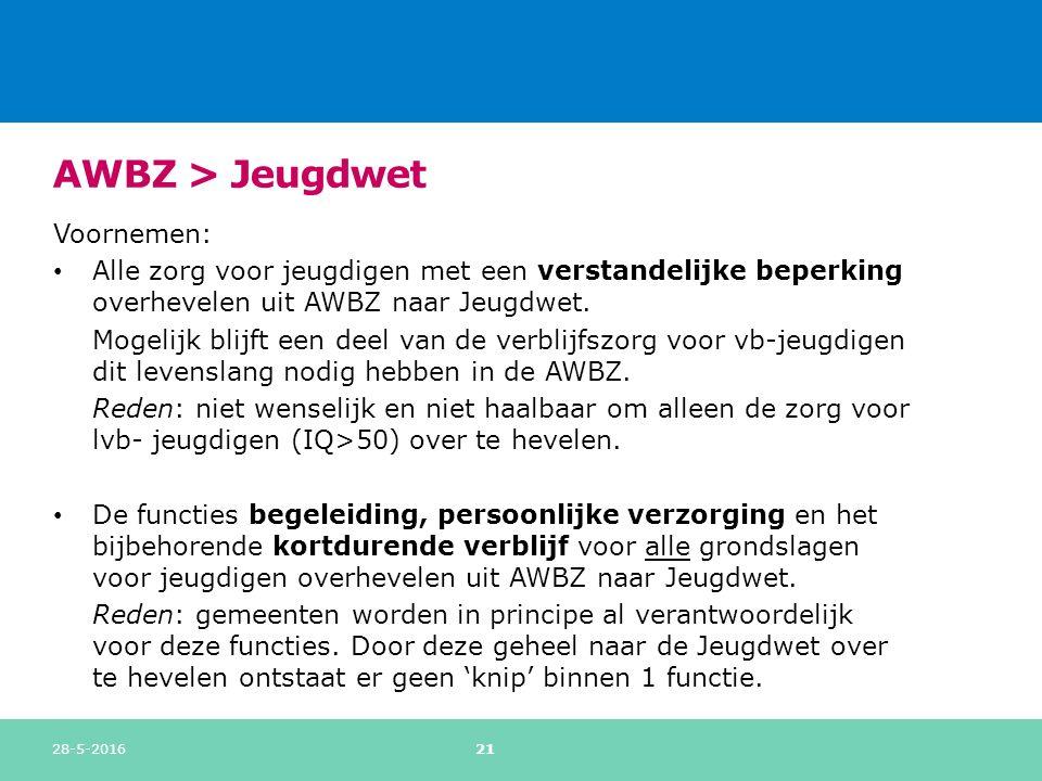 AWBZ > Jeugdwet Voornemen: Alle zorg voor jeugdigen met een verstandelijke beperking overhevelen uit AWBZ naar Jeugdwet.