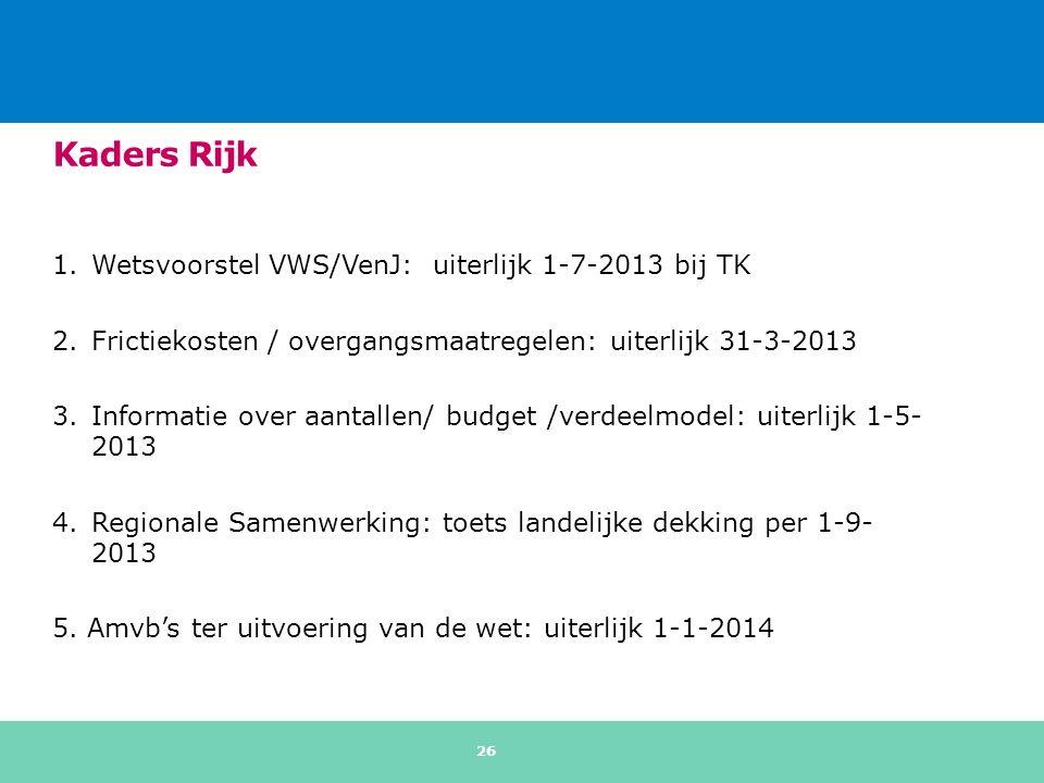 Kaders Rijk 1.Wetsvoorstel VWS/VenJ: uiterlijk 1-7-2013 bij TK 2.Frictiekosten / overgangsmaatregelen: uiterlijk 31-3-2013 3.Informatie over aantallen/ budget /verdeelmodel: uiterlijk 1-5- 2013 4.Regionale Samenwerking: toets landelijke dekking per 1-9- 2013 5.